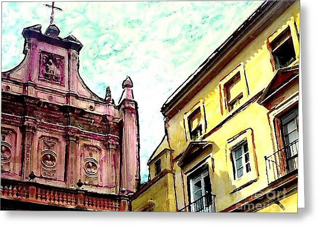 Europe Mixed Media Greeting Cards - Cathedral Plaza in Murcia Greeting Card by Sarah Loft