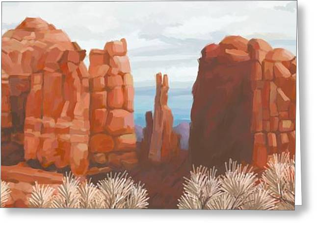 Cathedral Rock Digital Greeting Cards - Cathedral Rock in Winter Greeting Card by John Little