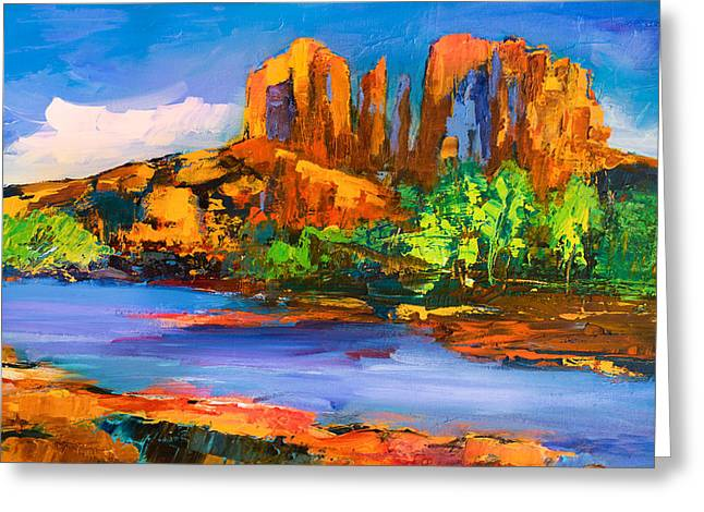 Mesa Greeting Cards - Cathedral Rock Afternoon Greeting Card by Elise Palmigiani