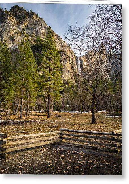 Mike Lee Greeting Cards - Cathedral Rock and Bridalveil Falls Greeting Card by Mike Lee