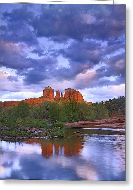 Red Rock Crossing Greeting Cards - Cathedral Rock And Oak Creek At Red Greeting Card by Tim Fitzharris