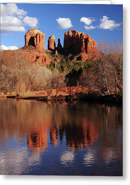 Cathedral Rock And Reflections At Sunset Greeting Card by Michel Hersen