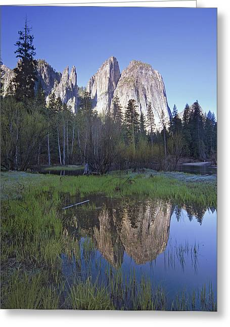 Cathedral Rock Greeting Cards - Cathedral Rock And The Merced River Greeting Card by Tim Fitzharris