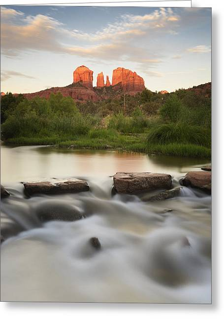 Red Rock Crossing Greeting Cards - Cathedral Rock At Red Rock Greeting Card by Peter Carroll
