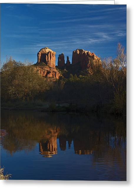 Cathedral Rock Greeting Cards - Cathedral Rock at Sunset Greeting Card by Chuckie C