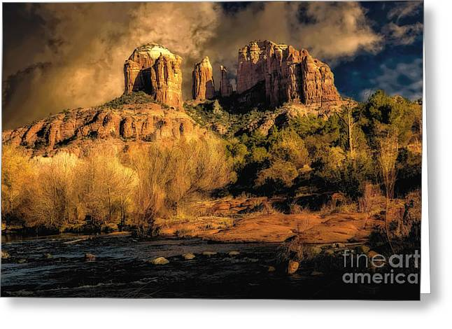 Oak Creek Greeting Cards - Cathedral Rock Before the Rains Came Greeting Card by Jon Burch Photography