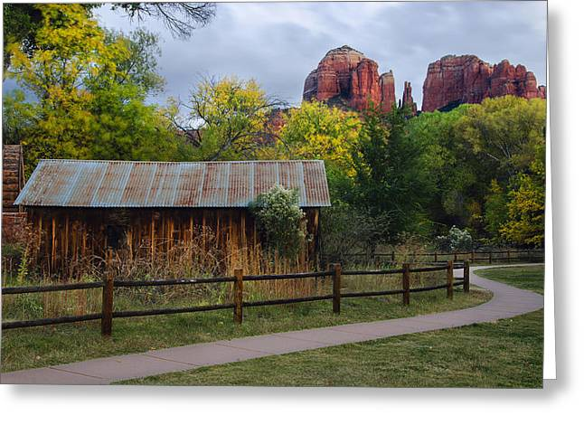 Red Rock Crossing Photographs Greeting Cards - Cathedral Rock Buildings near Sedona Greeting Card by Dave Dilli