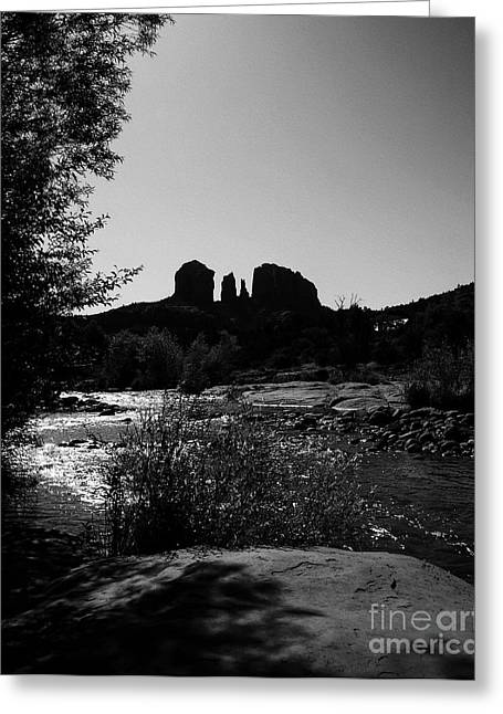 Oak Creek Greeting Cards - Cathedral Rock BW Greeting Card by Mel Steinhauer