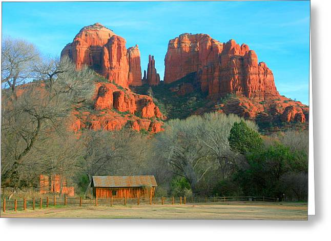 Red Rock Crossing Greeting Cards - Cathedral Rock cabin Greeting Card by Robert Matus