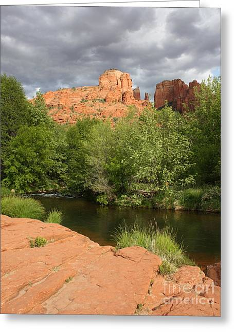 Best Sellers -  - Red Rock Crossing Greeting Cards - Cathedral Rock Vertical Greeting Card by Carol Groenen