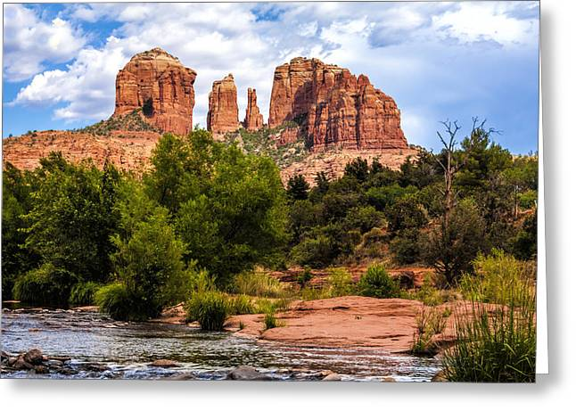 Best Sellers -  - Red Rock Crossing Greeting Cards - Cathedral Rock Greeting Card by Fred Larson