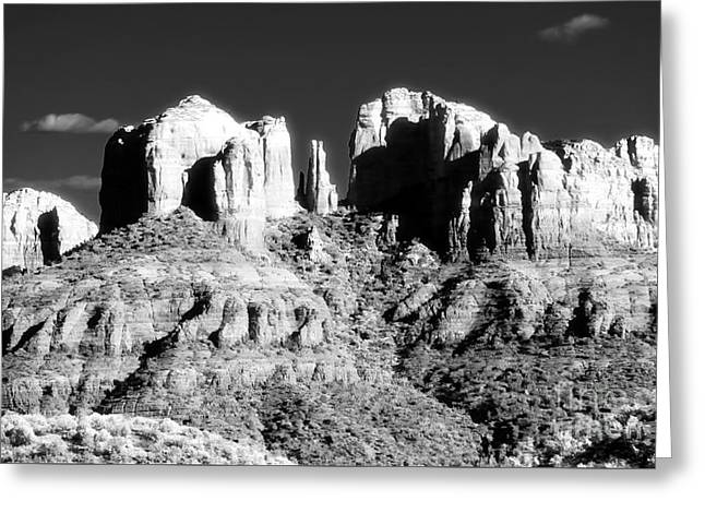 Cathedral Rock Glow Greeting Card by John Rizzuto