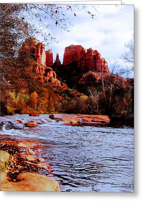 Red Rock Crossing Greeting Cards - Cathedral Rock Greeting Card by Howard Bagley