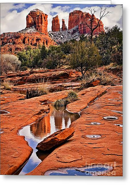 Red Rock Crossing Greeting Cards - Cathedral Rock in Winter Greeting Card by Priscilla Burgers