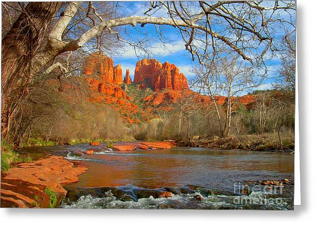 Red Rock Crossing Greeting Cards - Cathedral Rock Greeting Card by John Roberts