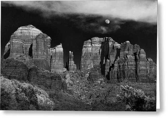 White Photographs Greeting Cards - Cathedral Rock Moon Rise Greeting Card by Dave Dilli