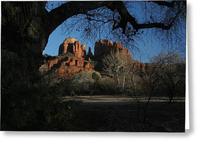 Cathedral Rock Pyrography Greeting Cards - Cathedral Rock Greeting Card by Pat Marzinsky