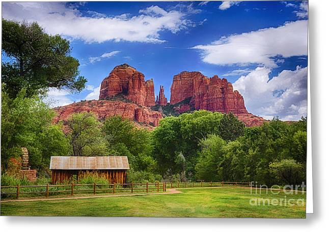Red Rock Crossing Greeting Cards - Cathedral Rock Greeting Card by Priscilla Burgers