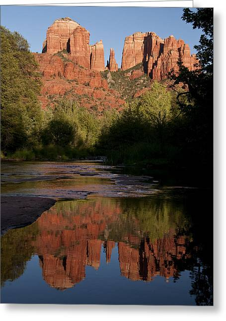 Red Rock Crossing Greeting Cards - Cathedral Rock Reflection 4 Greeting Card by Lee Kirchhevel