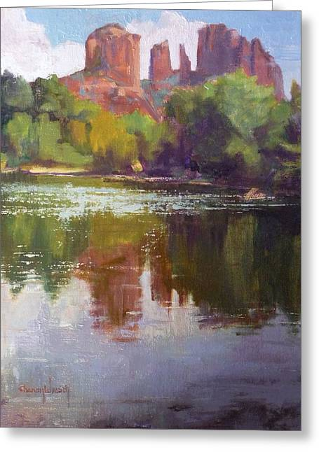 Cathedral Rock Greeting Cards - Cathedral Rock Reflection Greeting Card by Sharon Weaver