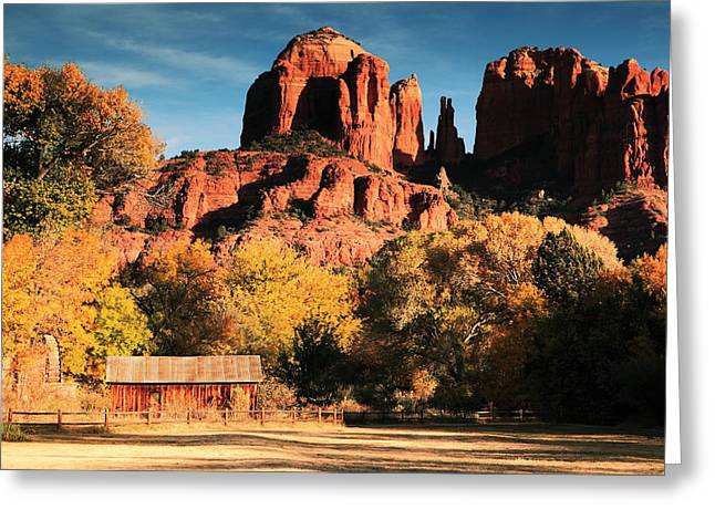 Red Rock Crossing Greeting Cards - Cathedral Rock Sedona Arizona Greeting Card by Roupen  Baker