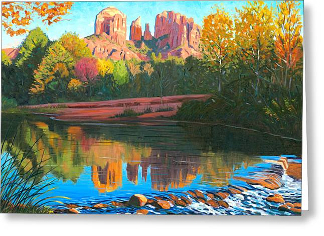 Oak Creek Greeting Cards - Cathedral Rock - Sedona Greeting Card by Steve Simon