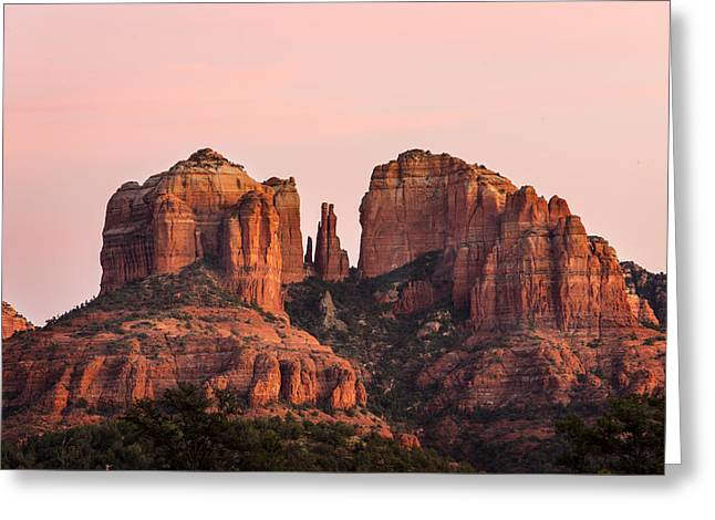 Cathedral Rock Sunset Greeting Card by Mary Jo Allen