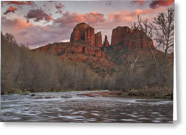 Red Rock Crossing Greeting Cards - Cathedral Rock Sunset Greeting Card by Paul Riedinger