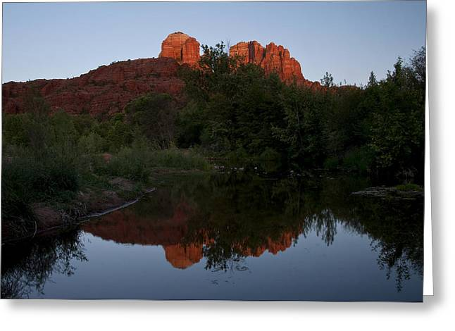 Red Rock Crossing Greeting Cards - Cathedral Rock Sunset Reflection 1 Greeting Card by Lee Kirchhevel