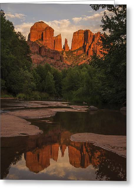Red Rock Crossing Greeting Cards - Cathedral Rock Sunset Reflection 5 Greeting Card by Lee Kirchhevel