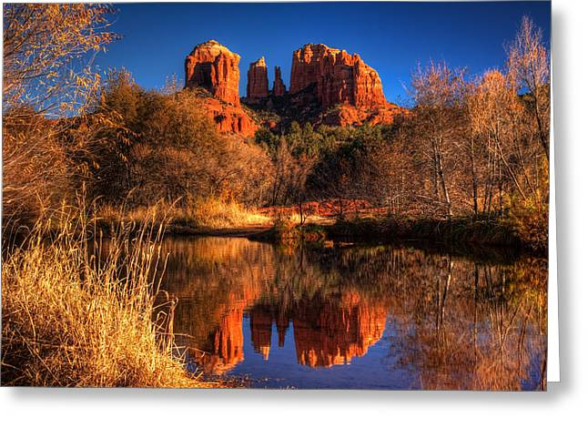 Oak Creek Greeting Cards - Cathedral Rock Greeting Card by Tom Weisbrook