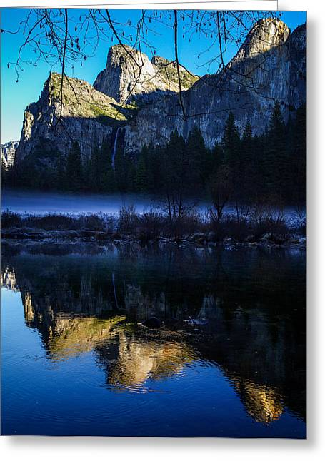 Cathedral Rock Photographs Greeting Cards - Cathedral Rocks and Bridalveil Falls Greeting Card by Scott McGuire