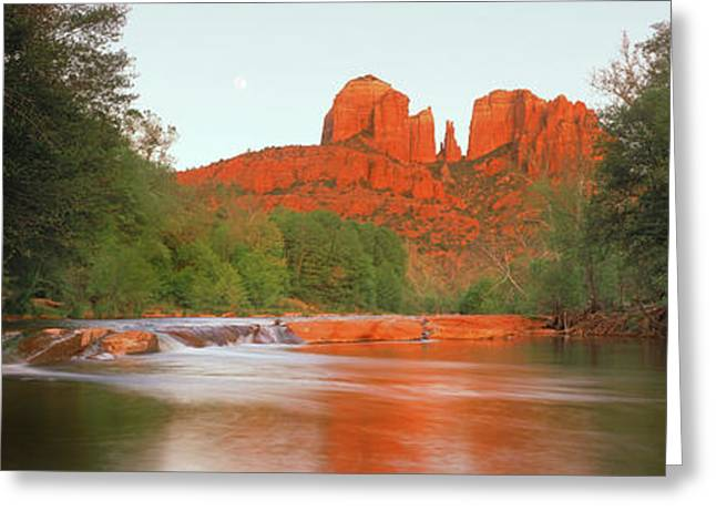 Cathedral Rocks In Coconino National Greeting Card by Panoramic Images