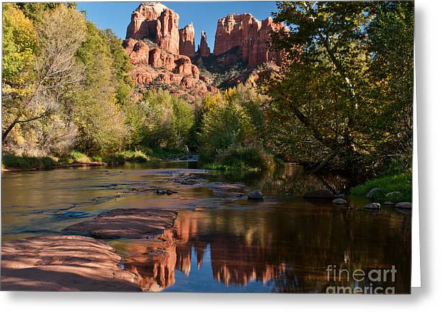 Cathedral Rock Greeting Cards - Cathedral Rocks Reflection Greeting Card by Jim Chamberlain