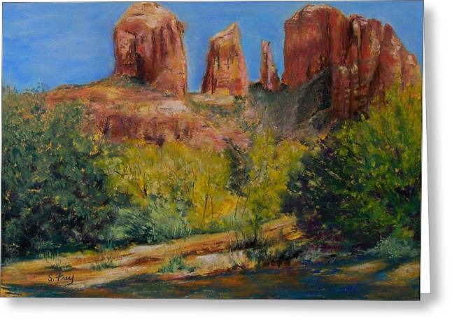 Cathedral Rock Pastels Greeting Cards - Cathedral Rocks Greeting Card by Sharon Frey