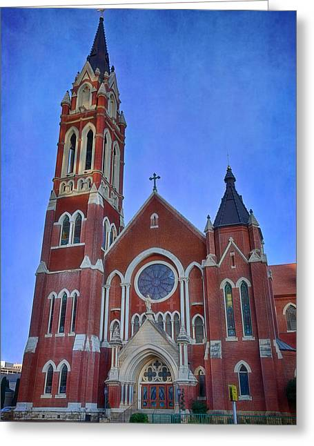 Glass Facades Greeting Cards - Cathedral Shrine of Our Lady of Guadalupe Greeting Card by Joan Carroll