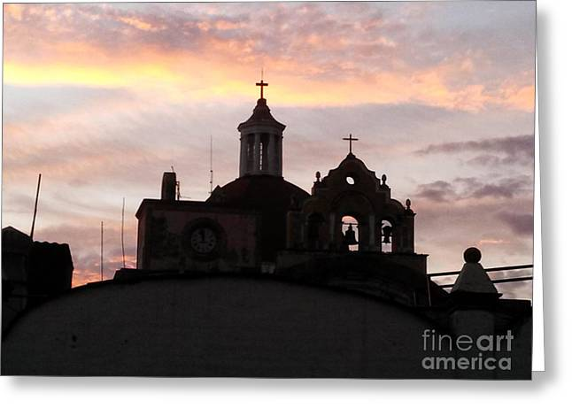 Geobob Greeting Cards - Cathedral Silhouette at Sunset Cuernavaca Mexico Greeting Card by Robert Ford