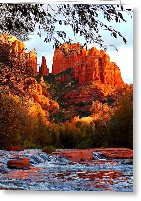 Red Rock Crossing Greeting Cards - Cathedral Sunset Greeting Card by Sherry Bunting