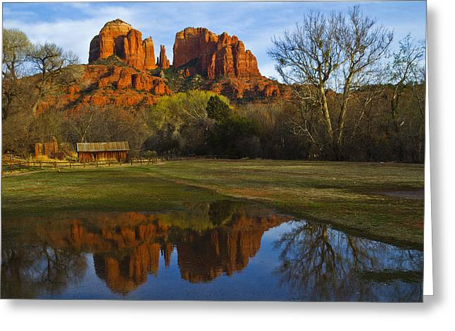 Red Rock Crossing Greeting Cards - Cathedral Greeting Card by Tom Kelly