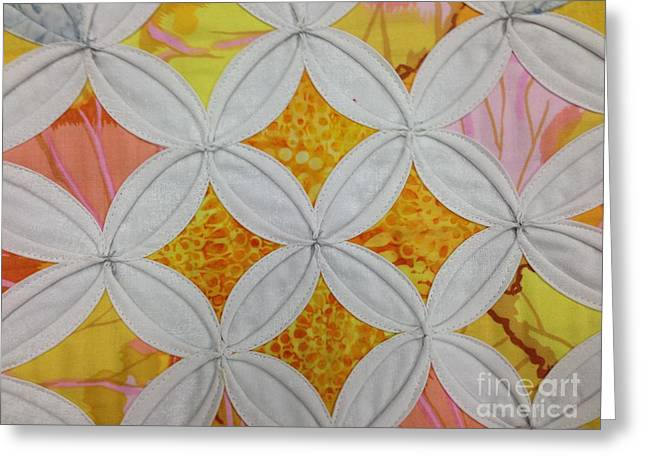 Runner Tapestries - Textiles Greeting Cards - Cathedral Window Greeting Card by Shirin Shahram Badie