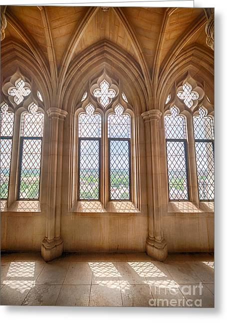 Historic Architecture Greeting Cards - Cathedral Windows Greeting Card by Ray Warren