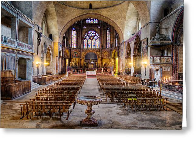 Recently Sold -  - South West France Greeting Cards - Cathedrale Saint-Etienne Interior / Cahors Greeting Card by Barry O Carroll