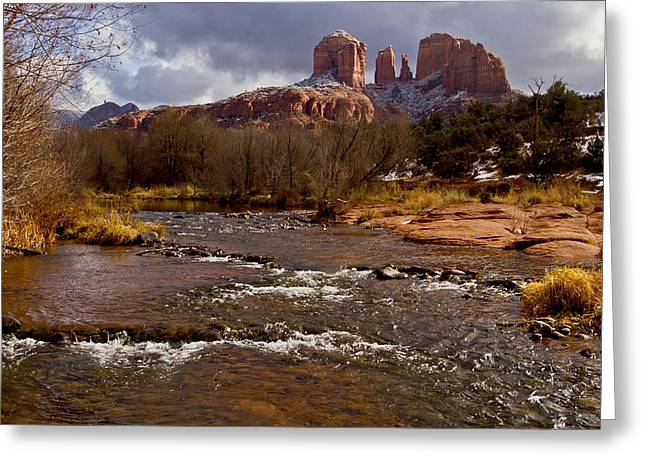 Cathedral Rock Greeting Cards - Cathedrals Dusting  Greeting Card by Tom Kelly