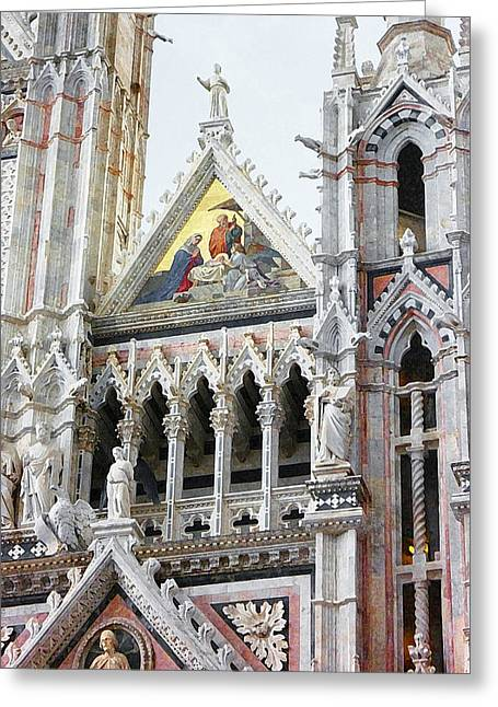 Art Book Greeting Cards - Cathedrals Of Tuscany Siena Italy Greeting Card by Irina Sztukowski
