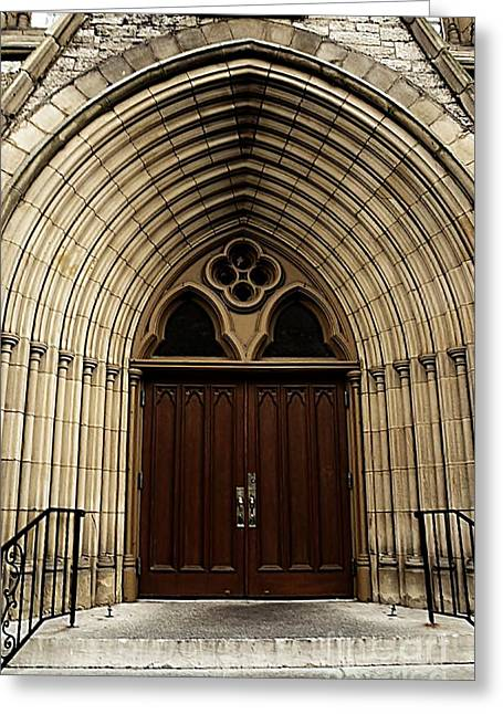 Saint Joseph Greeting Cards - Catherdral Doors Greeting Card by Kathleen Struckle