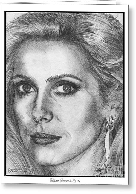 60 Inches Drawings Greeting Cards - Catherine Deneuve in 1976 Greeting Card by J McCombie