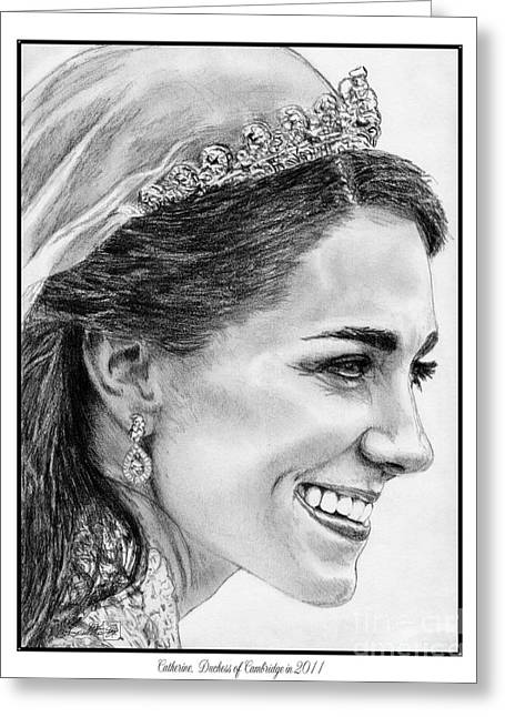 Kate Middleton Greeting Cards - Catherine - Duchess of Cambridge in 2011 Greeting Card by J McCombie