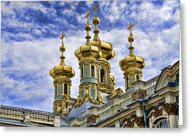 Catherine Palace Cupolas - St Petersburg Russia Greeting Card by Jon Berghoff
