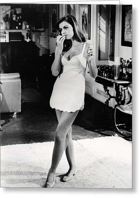 Catherine Photographs Greeting Cards - Catherine Spaak in Hotel  Greeting Card by Silver Screen
