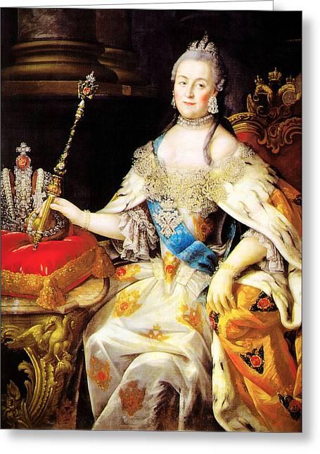 Duchess Greeting Cards - Catherine the Great 1760 Greeting Card by Li   van Saathoff